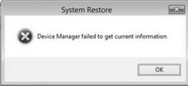Device Manager failed to get current information